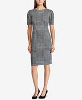 Lauren Ralph Glen Plaid Jacquard Knit Dress