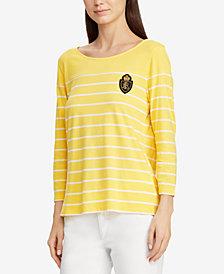 Lauren Ralph Lauren Petite Crest Striped Top