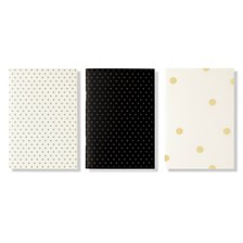 Kate Spade New York Triple Notebook Set, Black Dot
