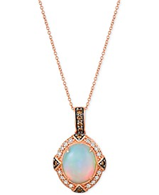 "Opal (2-1/5 ct. t.w.) & Diamond (3/8 ct. t.w.) 22"" Pendant Necklace in 14k Rose Gold"