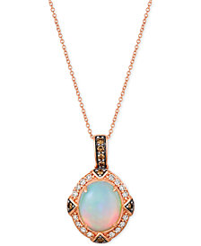 "Le Vian® Opal (2-1/5 ct. t.w.) & Diamond (3/8 ct. t.w.) 22"" Pendant Necklace in 14k Rose Gold"