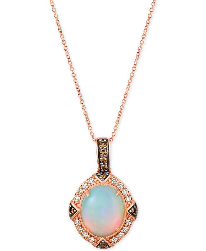 "Le Vian - Opal (2-1/5 ct. t.w.) & Diamond (5/8 ct. t.w.) 22"" Pendant Necklace in 14k Rose Gold"