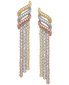 Cubic Zirconia Dangle Tricolor Drop Earrings in Sterling Silver & Gold- and Rose-Gold Plate