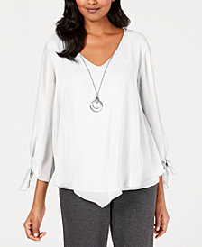 JM Collection Petite Chiffon Tie-Cuff Top, Created for Macy's