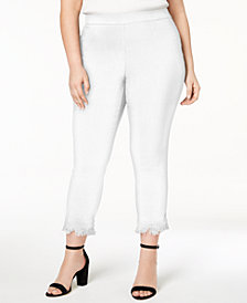 Style & Co Plus Size Fringe-Hem Cropped Pants, Created for Macy's