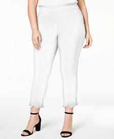 Style & Co Plus Size Fringe-Hem Cropped Pants, Created for Macy's