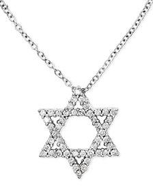 "EFFY® Diamond Star of David 18"" Pendant Necklace (1/4 ct. t.w.) in 14k White Gold"