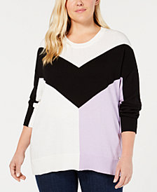 Tommy Hilfiger Cotton Plus Size Colorblocked Sweater, Created for Macy's