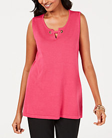 JM Collection Petite Split-Neck Tank Top, Created for Macy's