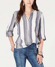 Style & Co Cotton Textured-Stripe Roll-Tab Top, Created for Macy's