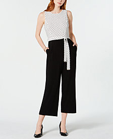 Tommy Hilfiger Dotted Cropped Jumpsuit, Created for Macy's