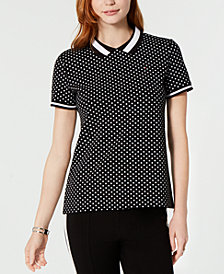 Tommy Hilfiger Dot-Print Collared Top, Created for Macy's