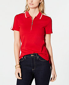 Tommy Hilfiger Cotton Zippered Polo Top, Created for Macy's