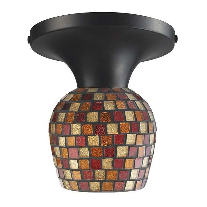 ELK Lighting Celina 1-Light Semi-Flush in Dark Rust and Multi Fusion Glass