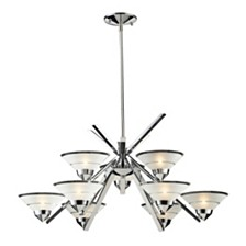 Refraction Collection 6+3 light Chandelier Satin with Clear Stripe