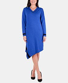 NY Collection Asymmetric Varsity Stripe Sweater Dress