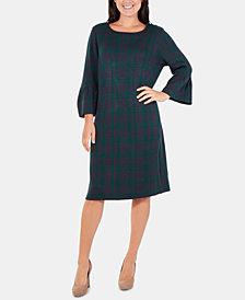 NY Collection Plaid Bell-Sleeve Sweater Dress
