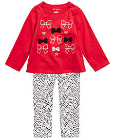 First Impressions Toddler Girls Holiday Bows Top & Printed Leggings Separates, Created for Macy's