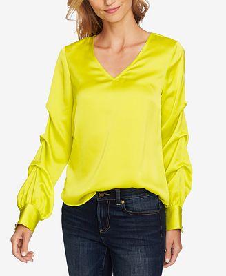 Cece Satin Statement Sleeve Blouse Tops Women Macy S