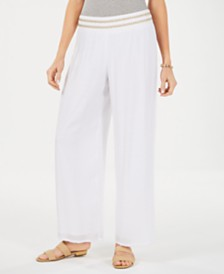 JM Collection Petite Metallic-Waist Wide-Leg Pants, Created for Macy's