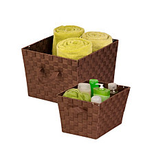 Honey Can Do Set of 2 Woven Task-It Baskets, Chocolate