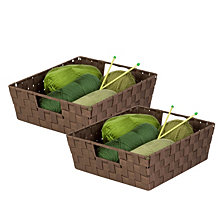 Honey Can Do Set of 2 Woven Trays, Chocolate