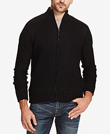 Weatherproof Vintage Men's Fleece-Lined Ribbed Zip Sweater