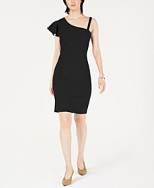 Bar III Asymmetrical Ruffle Bodycon Dress, Created for Macy's