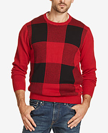 Weatherproof Vintage Men's Buffalo-Plaid Crew-Neck Sweater