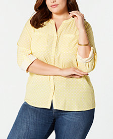 NY Collection Plus Size Printed Roll-Tab-Sleeve Utility Shirt
