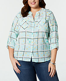 NY Collection Plus Size Printed Roll-Tab Button-Front Shirt