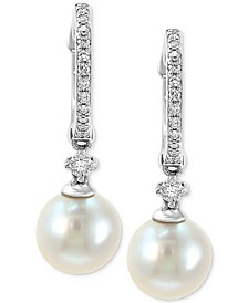 EFFY® Cultured Freshwater Pearl (7mm) & Diamond (1/6 ct. t.w.) Hoop Drop Earrings in 14k White Gold