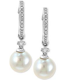 EFFY® Cultured Freshwater Pearl (7mm) & Diamond (1/6 ct. t.w.) Hoop Drop Earrings in 14k White Gold