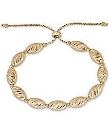 Textured Bead Bolo Bracelet in 14k Gold-Plated Sterling Silver