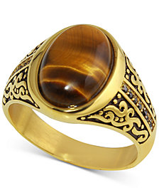 Men's Tiger's Eye (11 x 9mm) & Diamond (1/10 ct. t.w.) Ring in Yellow Ion-Plated Stainless Steel
