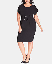 City Chic Trendy Plus Size Embellished Split-Sleeve Dress