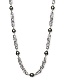 "Cultured Black Tahitian Pearl (10mm) & Cubic Zirconia 18"" Statement Necklace in Sterling Silver"