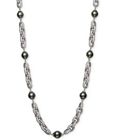 "Belle de Mer Cultured Black Tahitian Pearl (10mm) & Cubic Zirconia 18"" Statement Necklace in Sterling Silver"
