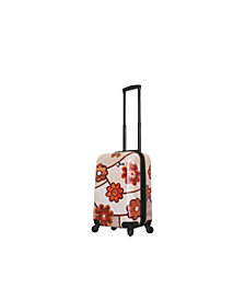 "Mia Toro Italy Ricci Wood Mozaic Flowers 20"" Carry On"