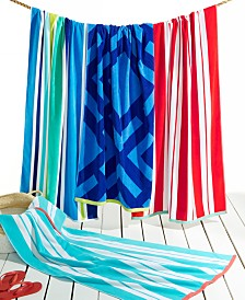 CLOSEOUT! Martha Stewart Collection Stripe & Geo Print Beach Towel Collection, Created for Macy's