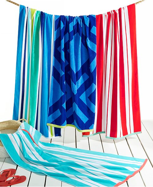 Martha Stewart Collection CLOSEOUT! Stripe & Geo Print Beach Towel Collection, Created for Macy's