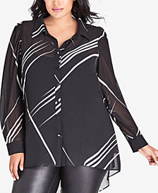 City Chic Trendy Plus Size Line-Print Button-Up Top
