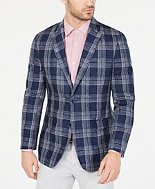 Men's Modern-Fit Navy & White Plaid Linen Sport Coat