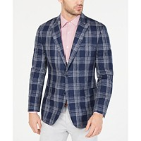 Tommy Hilfiger Mens Modern-Fit Plaid Linen Sport Coat