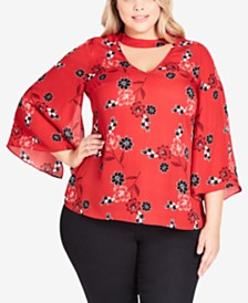 2cb86330c45 City Chic Trendy Plus Size Jade Blossom Top - Tops - Plus Sizes - Macy s