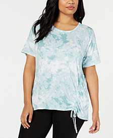 Ideology Plus Size Tie-Dyed Side-Tie Top, Created for Macy's