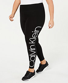 Calvin Klein Performance Plus Size Logo High-Rise Leggings