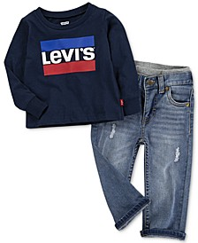 Baby Boys Logo-Print Cotton T-Shirt & Pull-On Jeans Separates