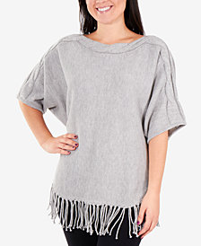 NY Collection Glitter Dolman-Sleeve Fringe Sweater