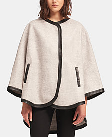 DKNY Poncho Cape With Faux-Leather Trim, Created for Macy's